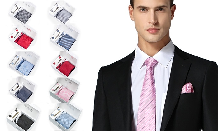UDS Global Limited: $19 Men's Tie Gift Set with Necktie, Cufflinks, Pocket Square and Tie Clip