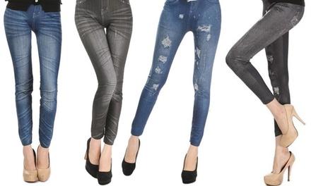 Set 4 leggings di jeans