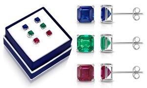 Asscher Cut Created Gemstone Stud Earring Set By MUIBLU Gems (3-Pair)