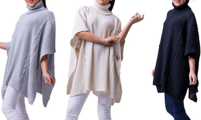 poncho femme hiver lauren groupon shopping. Black Bedroom Furniture Sets. Home Design Ideas
