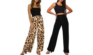 (Mode)  Pantalon taille haute large Palazzo -55% réduction