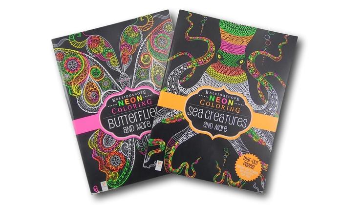 hinkler neon adult coloring book bundle 2 piece hinkler neon adult coloring - Adult Coloring Books 2