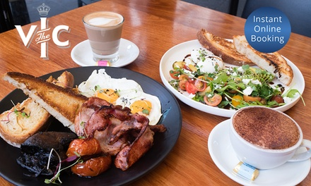 Breakfast with Cup of Tea or Coffee for Two ($19) or Four People ($38) at The Vic (Up to $106 Value)