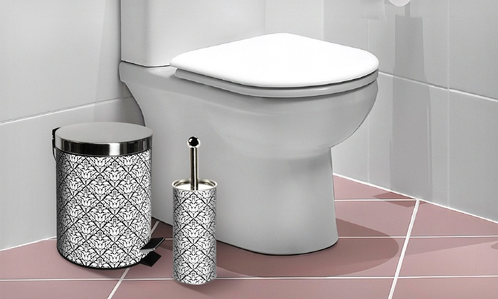 Stainless Steel Trashcan and Toilet Brush Set: Stainless Steel Trashcan and Toilet Brush. Multiple Designs Available. Free Returns.
