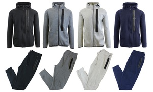 Men's Tech Fleece Hoodie and Jogger Pants Set with Zipper Pockets