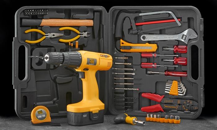 18v hammer drill set groupon. Black Bedroom Furniture Sets. Home Design Ideas