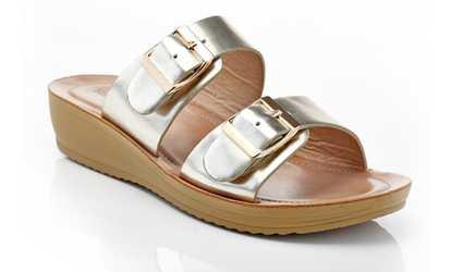 28632dff4ad3 Shop Groupon Henry Ferrera Women s Double-Buckle Wedge Comfort Sandals