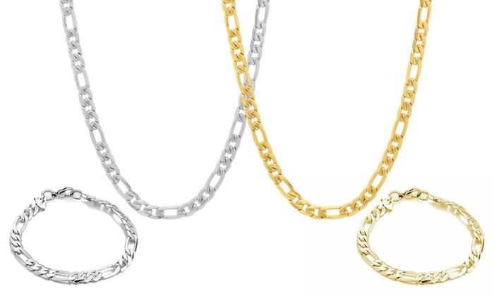 Groupon Goods Global GmbH: Bracciale o collana Figaro da uomo in acciaio disponibili in 2 colori