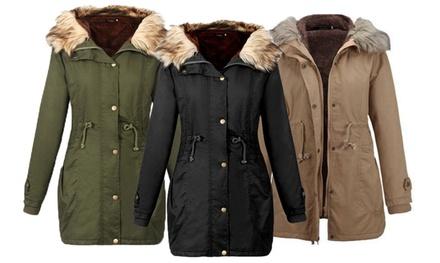 Womens Hooded Faux Fur Fleece Jackets: One ($35) or Two ($69)