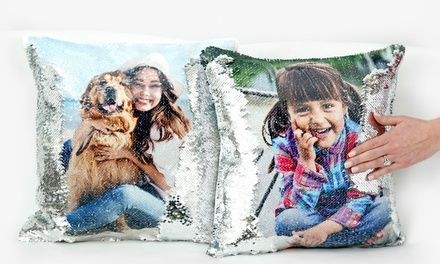 Custom Flip Sequin Photo Cushion Covers from Monogram Online (Up to 44% Off). Two Options Available.