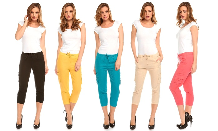 Women's Linen Cargo Capri Pants | Groupon Goods