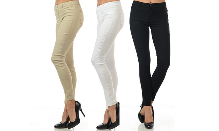 62% Off on Juniors' Stretch Twill Pants | Groupon Goods