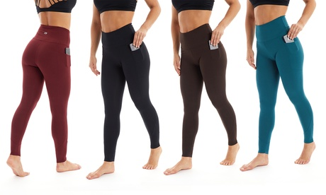 Marika Women's Regular or Plus Size High-Rise Tummy-Control Leggings with Pocket. Plus Sizes Available.