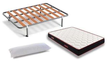 Colchón viscoelástico Fresh con almohada de fibra resinada y somier disponible en varias medidas