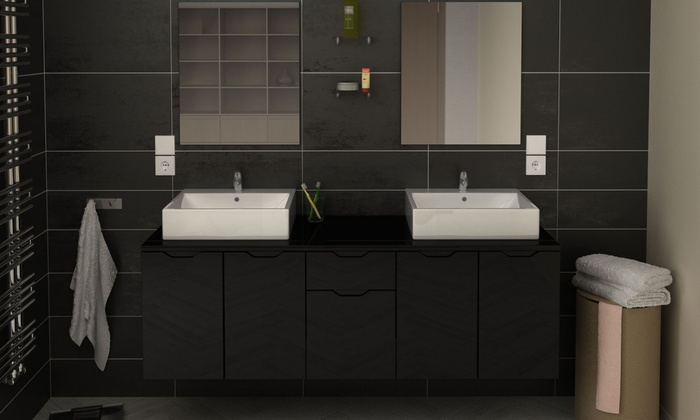 meuble de salle de bain suspendu groupon. Black Bedroom Furniture Sets. Home Design Ideas