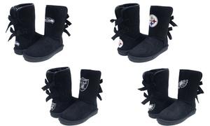 Cuce Shoes NFL Black Patron Women's Bow Boots