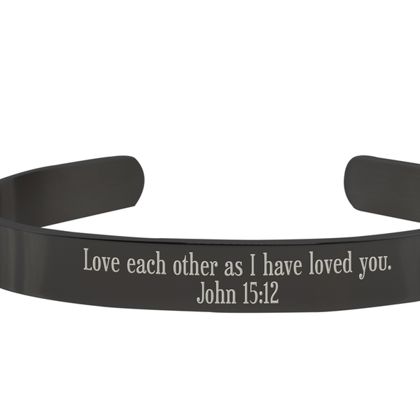 Pink Box 8MM Solid Stainless Steel Scripture Cuffs Black John 14:1