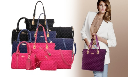 Groupon Fashion & Accessories Deal: $45.90 for a 6-Piece Quilted Tote, Crossbody Bag, & Wristlet Set  (worth $109.90). 4 Colours