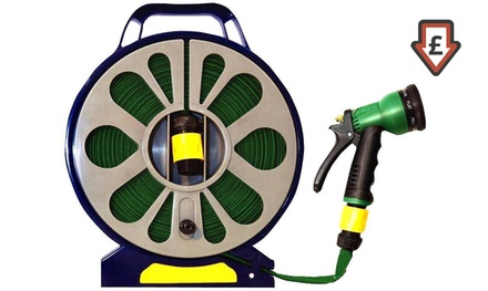 50ft Garden Flat Hose Pipe and Spray Nozzle with Wind Reel for £5