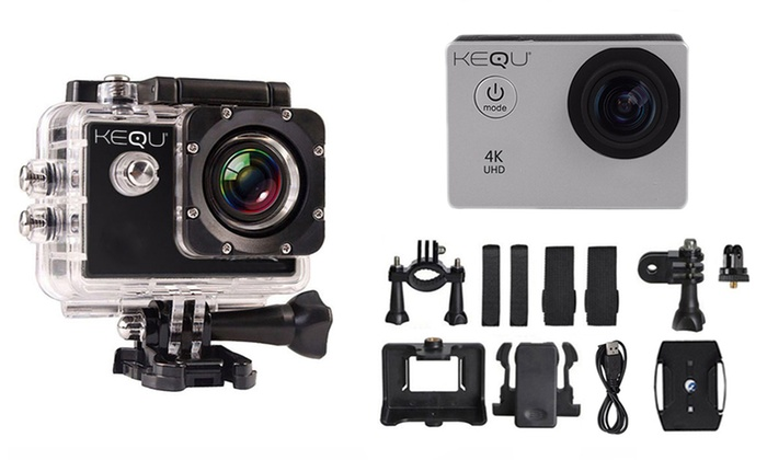 Kequ Water-Resistant Action Camera with Optional 32GB Micro SD Card