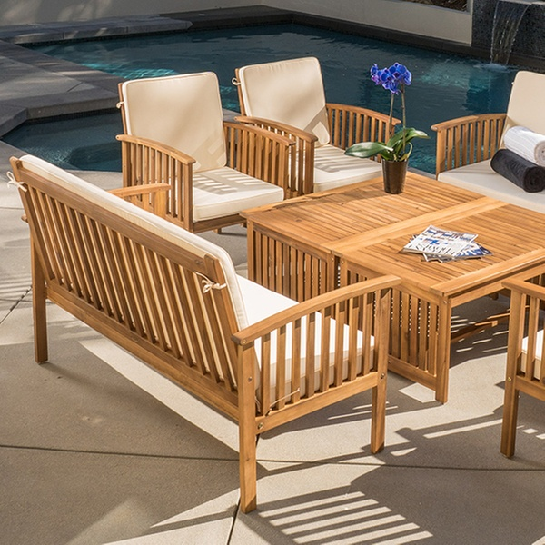 Brilliant Beckley 8 Piece Wood Outdoor Seating Set Caraccident5 Cool Chair Designs And Ideas Caraccident5Info