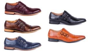 Signature Men's Triple Monk Strap Cap Toe Dress Shoes