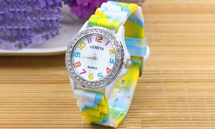 Reloj con correa de silicona para mujer