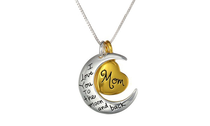 I Love You to the Moon and Back and Mom Pendant: I Love You to the Moon and Back and Mom Pendant in White and Yellow Gold