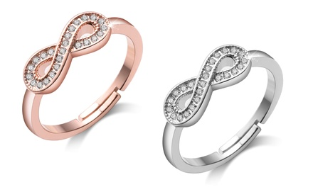 One or Two Philip Jones Adjustable Infinity Rings with Crystals from Swarovski