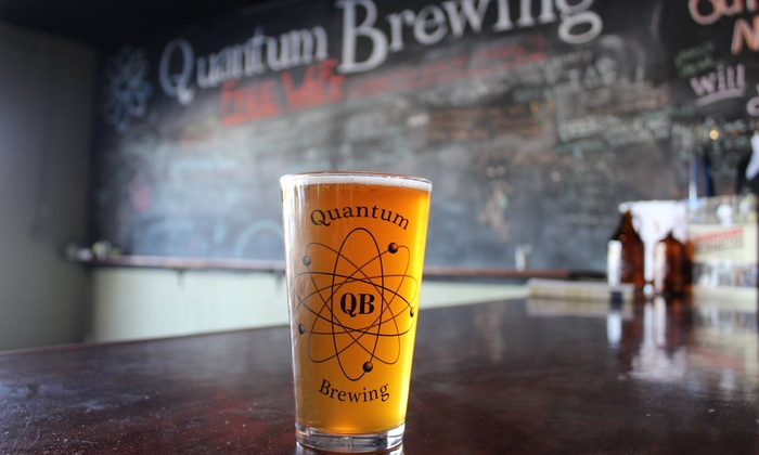 Quantum Brewing - Eastern San Diego: Four or Eight Pours and Two or Four Souvenir Logo Glasses for Two or Four at Quantum Brewing (Up to 42% Off)