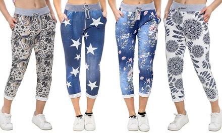 Printed Pocket Drawstring Trousers