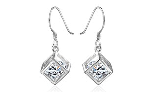 Sterling Silver Cubed Drop Earrings Made with Swarovski Elements