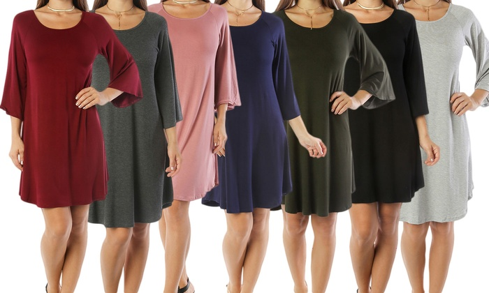 Up To 73 Off On Womens Plus Size Tunic Dress Groupon Goods