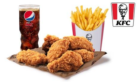 Menú alitas picantes, tiras, twister wrap y Original Burger en KFC (hasta 44% de descuento)