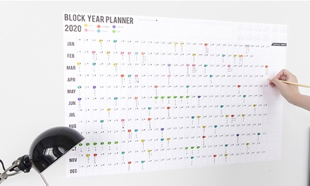 2020 Wall Year Planner with Two Sheets of Colourful Mark Stickers: One $9.95 or Two $14.95