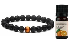Bracelet pierre de lave diffuseur