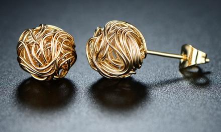Woven Love Knot Stud Earrings in 18K Gold Plating