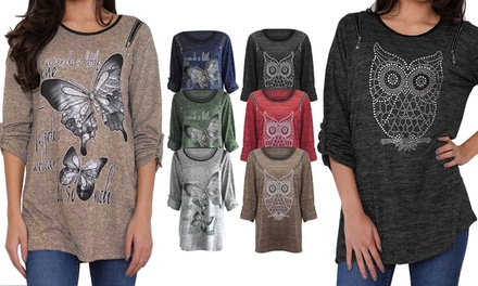 Plus-Size Owl/Butterfly Stud Tops