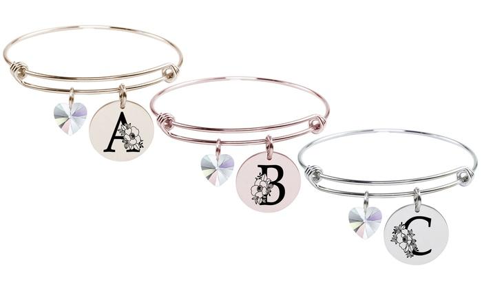 Pink Box Genuine Chakra Floral Initial Bracelet J Silver