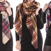 Peach Couture Fall Fashion Plaid Oversized Blanket Scarves