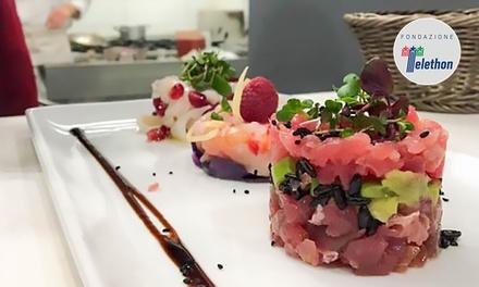 Menu d'eccellenza del mare di 4 portate con cruditè, dolce e vini pregiati da Iodio fish restaurant all'EUR (sconto 56%)