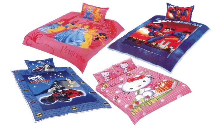 """ס.ב.ב.א גרופ בע""""מ - Merchandising (IL): סט מצעי ילדים ממותגים המתאימים לחורף ולקיץ, עם דמויות סופרמן, הלו קיטי ועוד"""