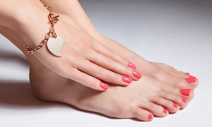 Brook and Hearth Salon: Gel Pedicure or Gel Overlay Manicure at Brook and Hearth Salon (46% Off)