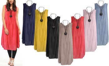 Cotton A-Line Dress with Necklace