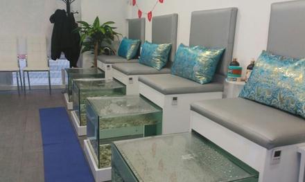 1 o 2 sesiones de ictioterapia con higiene de pies y/o masaje, aromaterapia y pedicura desde 9,99 € en Urban Fish Spa