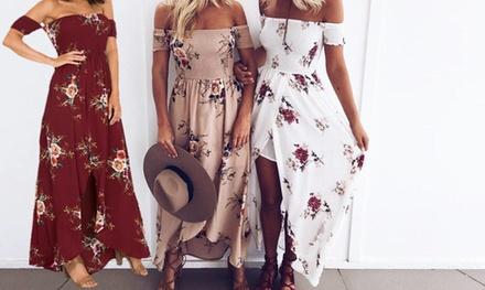 Floral OffShoulder Summer Maxi Dress