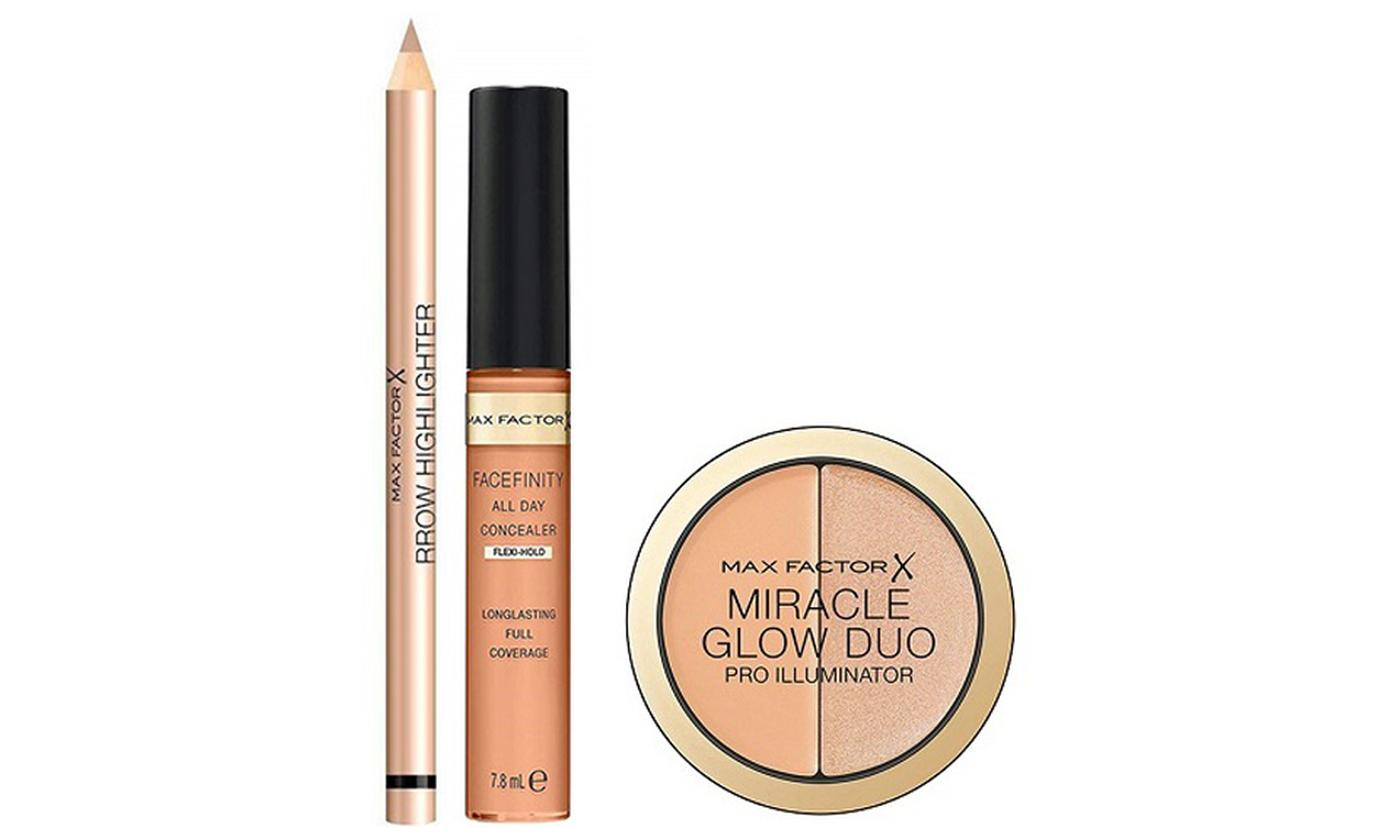 Max Factor Three-Piece Highlighter and Concealer Set