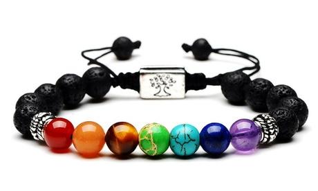 Bracelet chakra arbre de vie sept pierres à fermoir