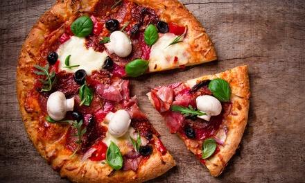 Menu pizza con antipasto, birra e caffè