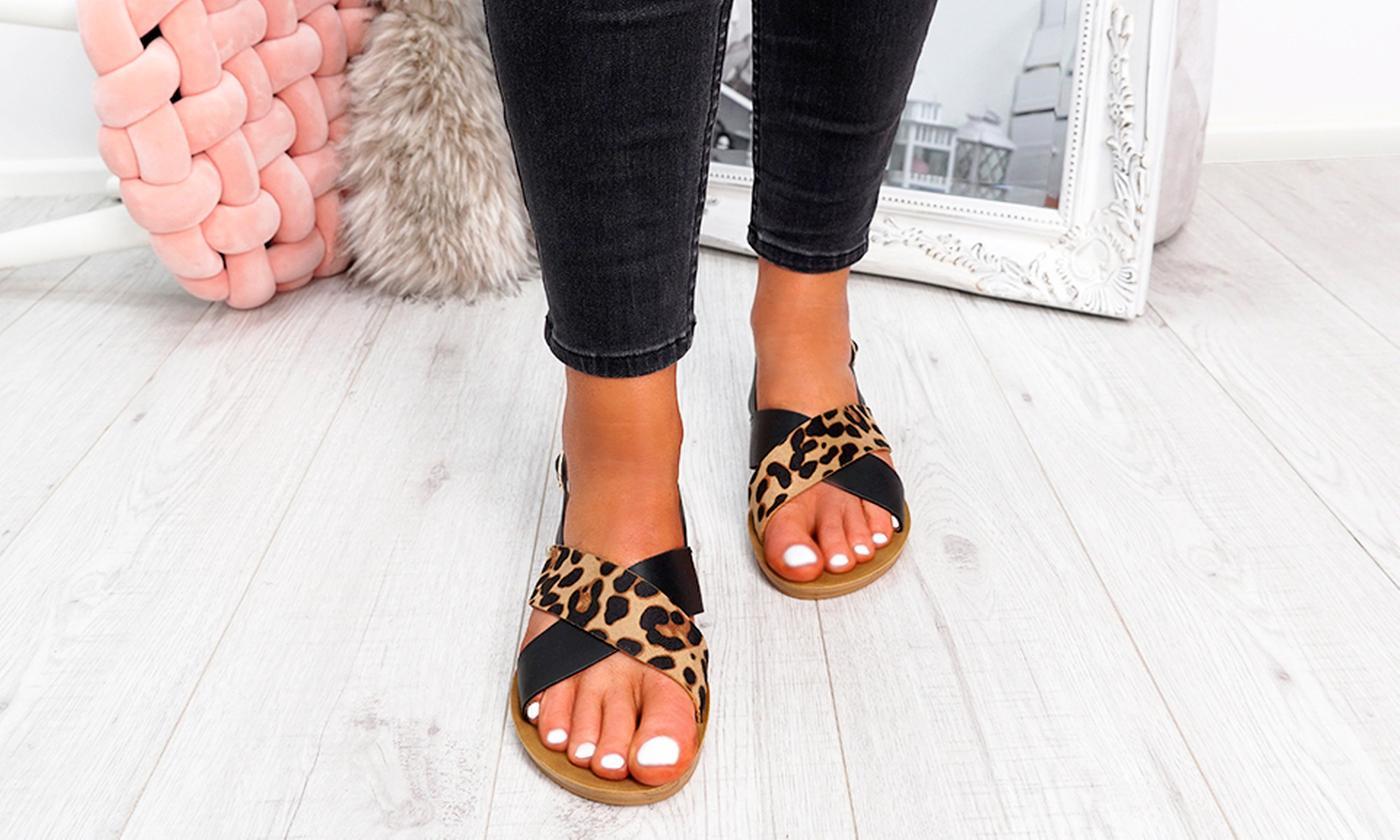 Women's Peep-Toe Animal Print Sandals